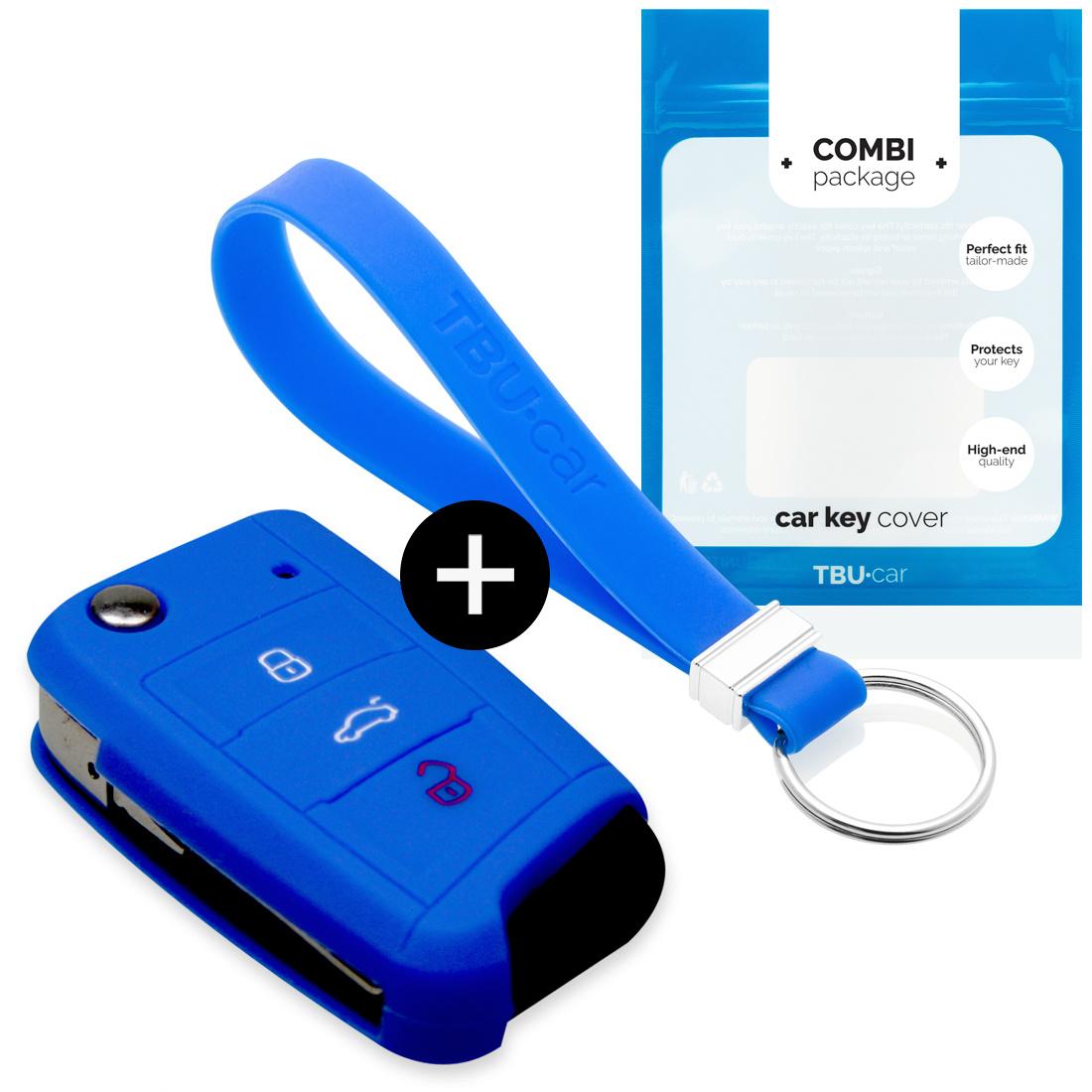 Seat Autoschlüssel Hülle - Silikon Schutzhülle - Schlüsselhülle Cover - Blau