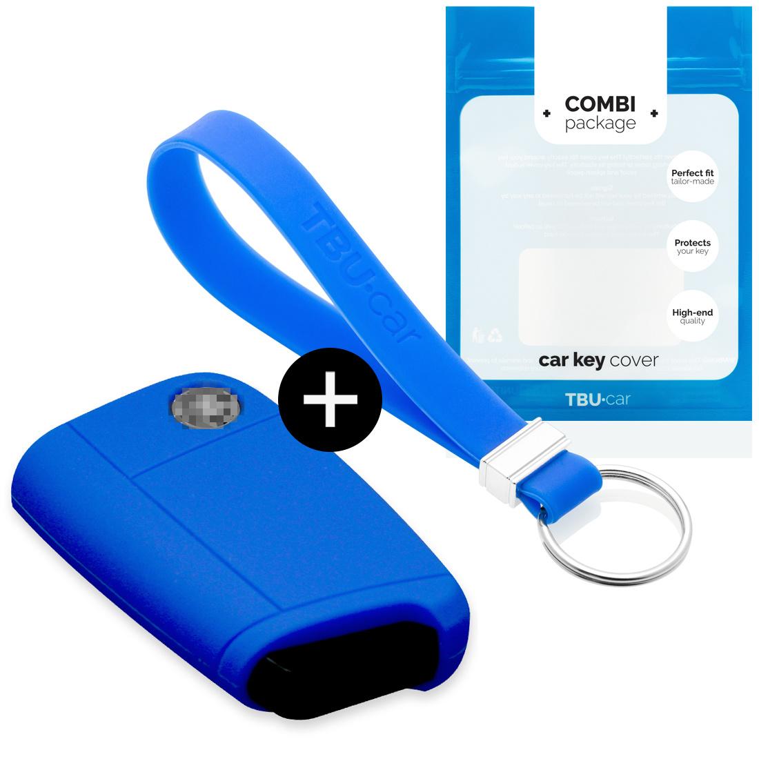 TBU car TBU car Autoschlüssel Hülle kompatibel mit Seat 3 Tasten - Schutzhülle aus Silikon - Auto Schlüsselhülle Cover in Blau