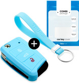 Seat Car key cover - Silicone Protective Remote Key Shell - FOB Case Cover - Light Blue