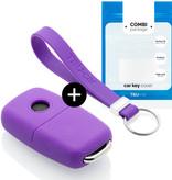 TBU car TBU car Autoschlüssel Hülle kompatibel mit Seat 3 Tasten - Schutzhülle aus Silikon - Auto Schlüsselhülle Cover in Violett