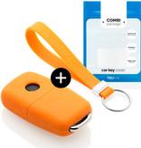 TBU car TBU car Autoschlüssel Hülle kompatibel mit Seat 3 Tasten - Schutzhülle aus Silikon - Auto Schlüsselhülle Cover in Orange