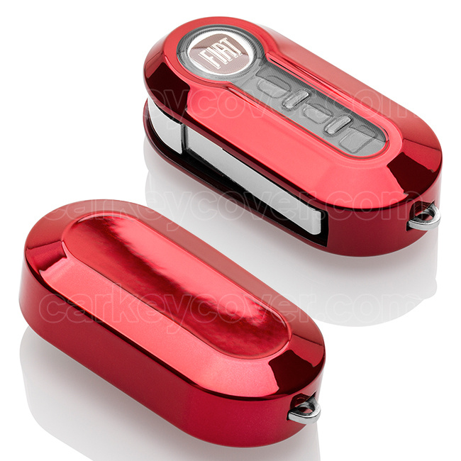 Fiat Car key cover - Silicone Protective Remote Key Shell - FOB Case Cover - Red Chrome