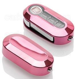 Fiat Schlüsselhülle - Rosa Silber Chrom