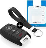 TBU car TBU car Autoschlüssel Hülle kompatibel mit Hyundai 4 Tasten (Keyless Entry) - Schutzhülle aus Silikon - Auto Schlüsselhülle Cover in Schwarz