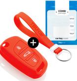 TBU car Autoschlüssel Hülle für Peugeot 3 Tasten - Schutzhülle aus Silikon - Auto Schlüsselhülle Cover in Rot