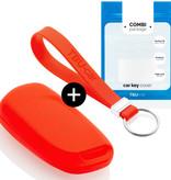 TBU car TBU car Autoschlüssel Hülle kompatibel mit Peugeot 3 Tasten - Schutzhülle aus Silikon - Auto Schlüsselhülle Cover in Rot