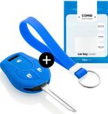 TBU car Autoschlüssel Hülle für Nissan 3 Tasten - Schutzhülle aus Silikon - Auto Schlüsselhülle Cover in Blau
