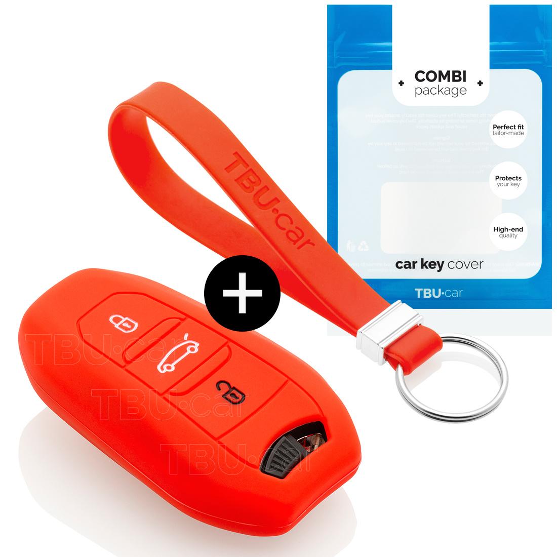 TBU car Autoschlüssel Hülle für Peugeot 3 Tasten (Keyless Entry) - Schutzhülle aus Silikon - Auto Schlüsselhülle Cover in Rot