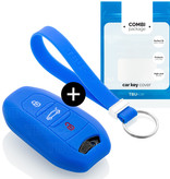 TBU car Autoschlüssel Hülle für Peugeot 3 Tasten (Keyless Entry) - Schutzhülle aus Silikon - Auto Schlüsselhülle Cover in Blau