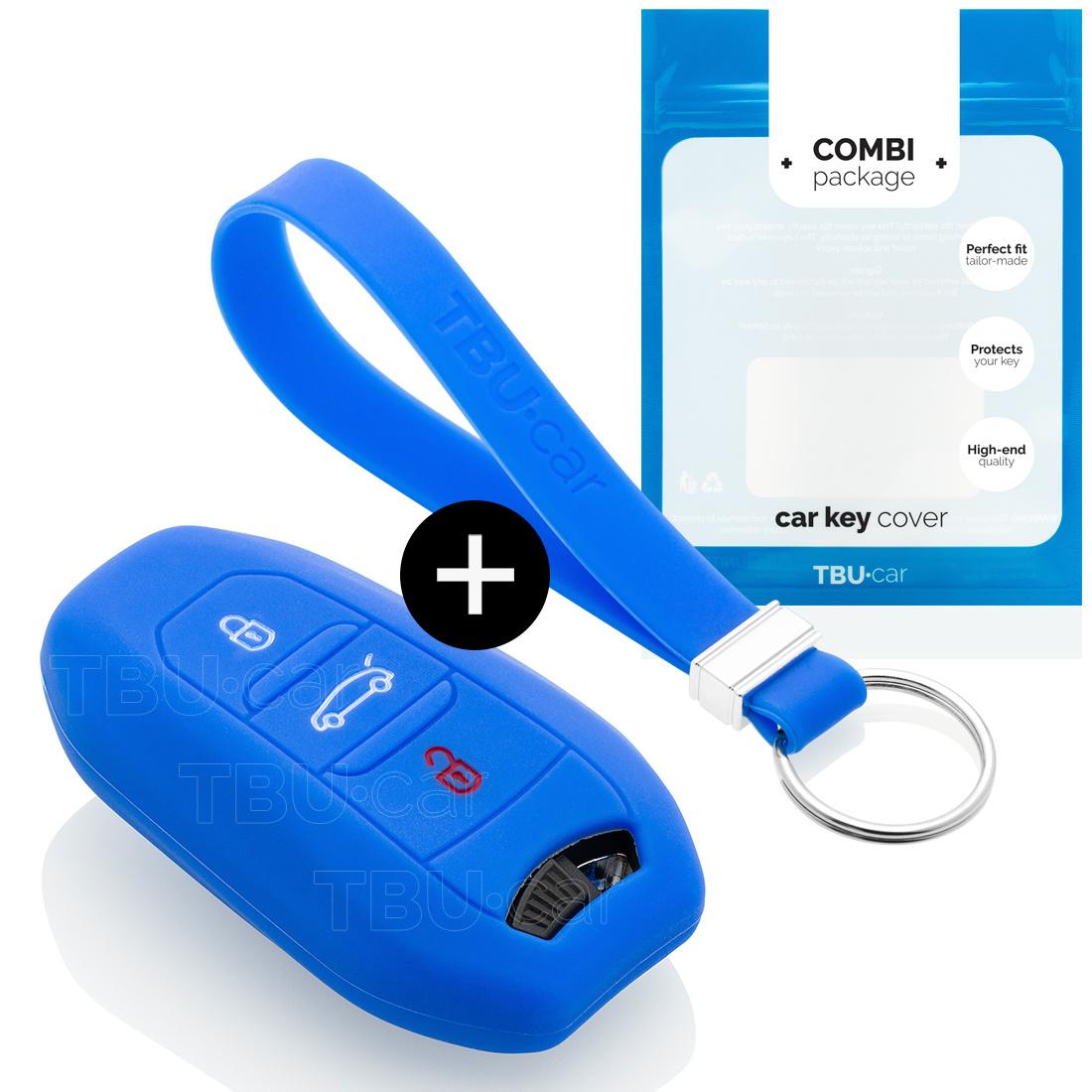 TBU car TBU car Autoschlüssel Hülle kompatibel mit Peugeot 3 Tasten (Keyless Entry) - Schutzhülle aus Silikon - Auto Schlüsselhülle Cover in Blau