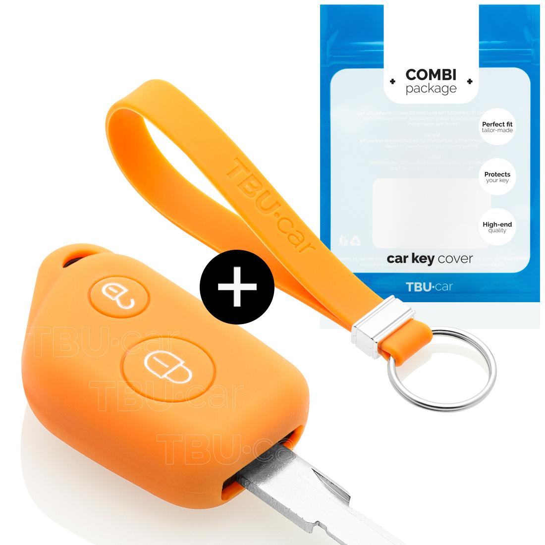 TBU car Autoschlüssel Hülle für Peugeot 2 Tasten - Schutzhülle aus Silikon - Auto Schlüsselhülle Cover in Orange