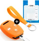 TBU car TBU car Autoschlüssel Hülle kompatibel mit Honda 3 Tasten - Schutzhülle aus Silikon - Auto Schlüsselhülle Cover in Orange