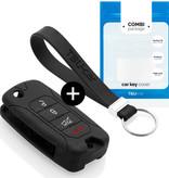 TBU car TBU car Autoschlüssel Hülle kompatibel mit Jeep 4 Tasten - Schutzhülle aus Silikon - Auto Schlüsselhülle Cover in Schwarz