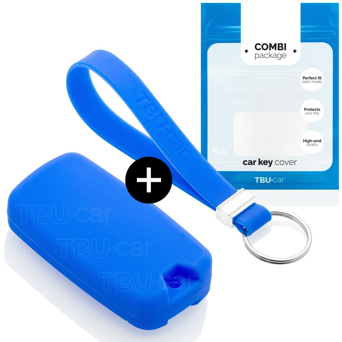 TBU car Autoschlüssel Hülle für Jeep 4 Tasten - Schutzhülle aus Silikon - Auto Schlüsselhülle Cover in Blau