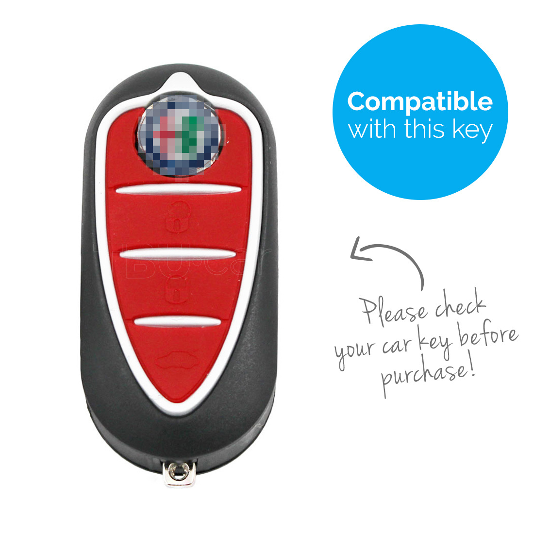 TBU car Alfa Romeo Sleutel Cover - Silicone sleutelhoesje - beschermhoesje autosleutel - Blauw