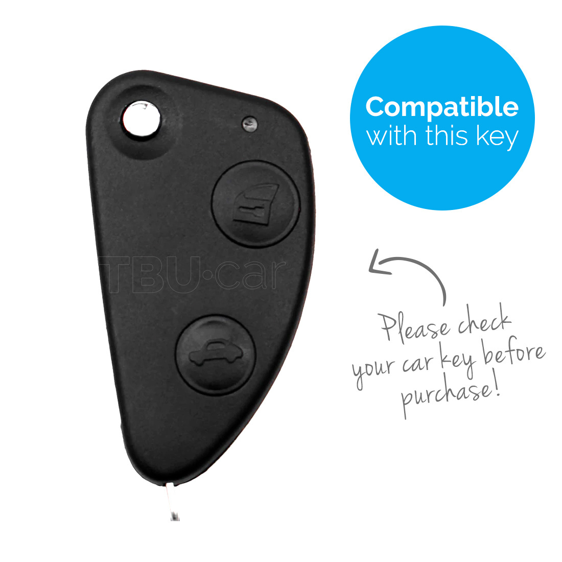 TBU car TBU car Car key cover compatible with Alfa Romeo - Silicone Protective Remote Key Shell - FOB Case Cover - Black