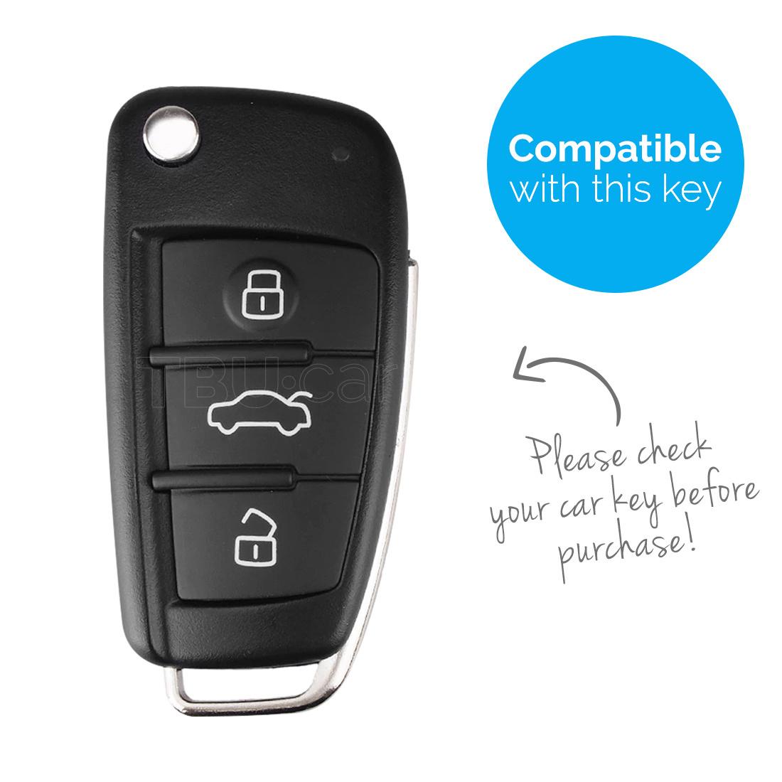 TBU car Autoschlüssel Hülle für Audi 3 Tasten - Schutzhülle aus Silikon - Auto Schlüsselhülle Cover in Rot