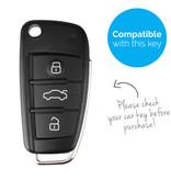 TBU car TBU car Autoschlüssel Hülle kompatibel mit Audi 3 Tasten - Schutzhülle aus TPU - Auto Schlüsselhülle Cover in Silber Chrom