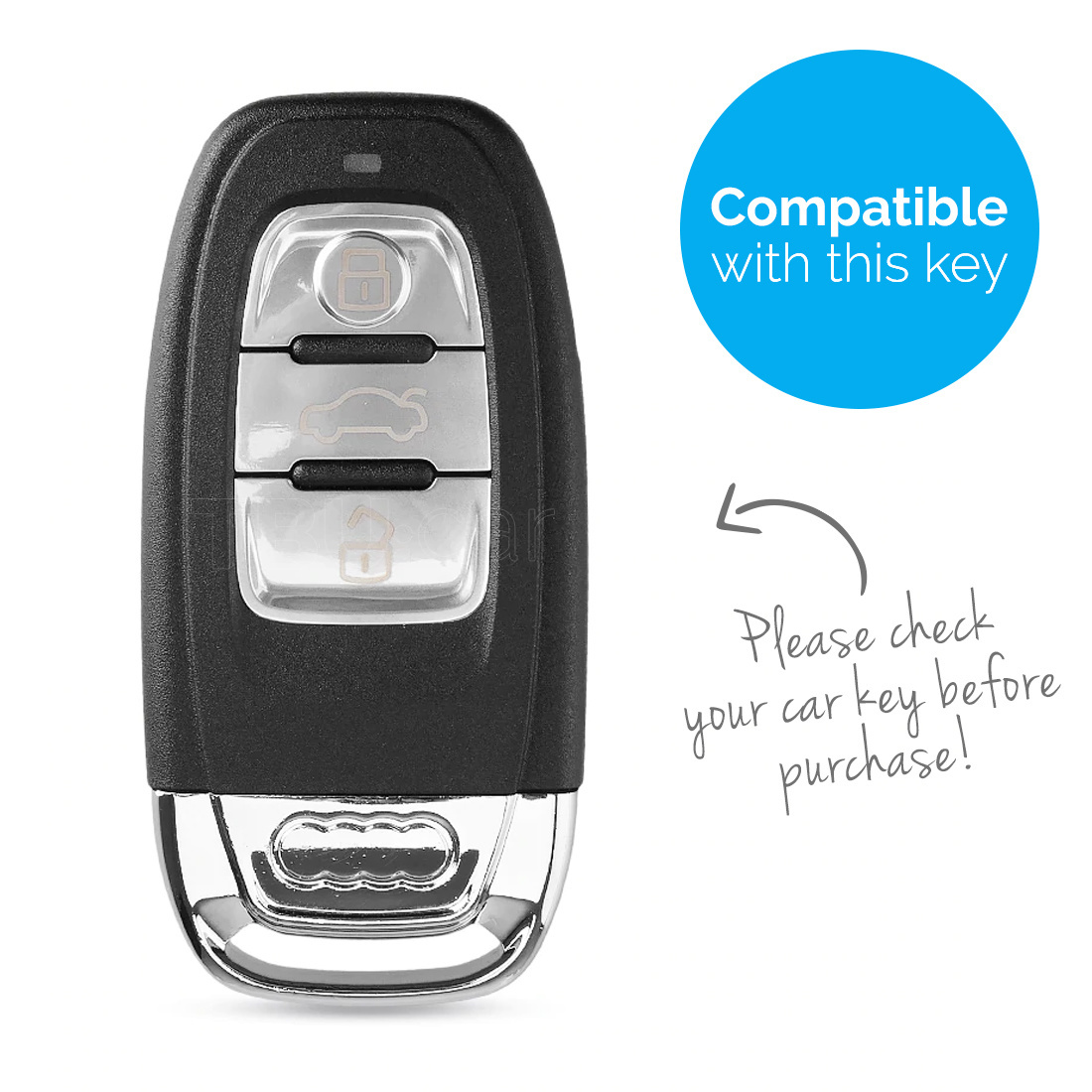 TBU car TBU car Autoschlüssel Hülle kompatibel mit Audi 3 Tasten (Keyless Entry) - Schutzhülle aus Silikon - Auto Schlüsselhülle Cover in Rosa