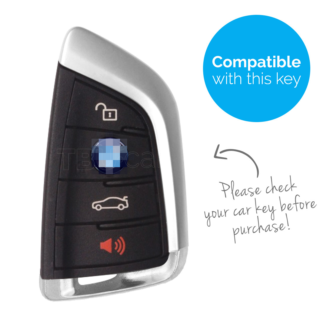 TBU car TBU car Car key cover compatible with BMW - TPU Protective Remote Key Shell - FOB Case Cover - Chrome