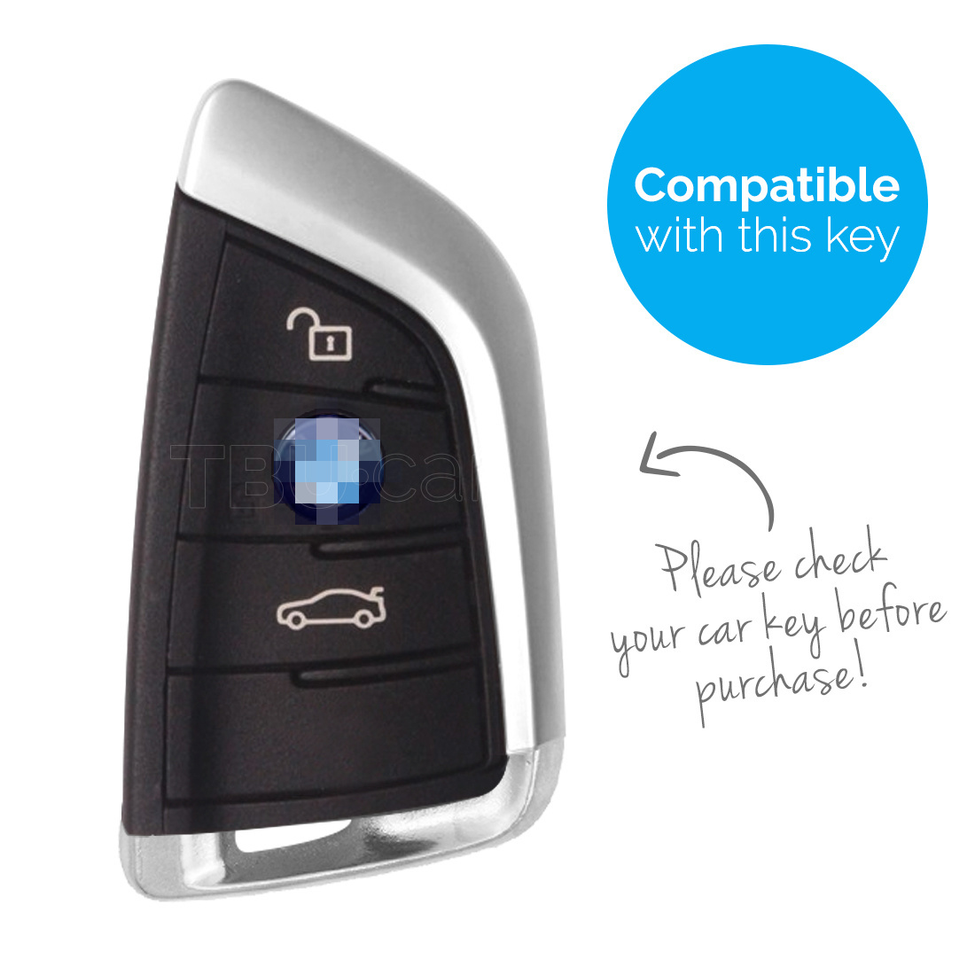 TBU car TBU car Autoschlüssel Hülle kompatibel mit BMW 3 Tasten (Keyless Entry) - Schutzhülle aus Silikon - Auto Schlüsselhülle Cover in Schwarz