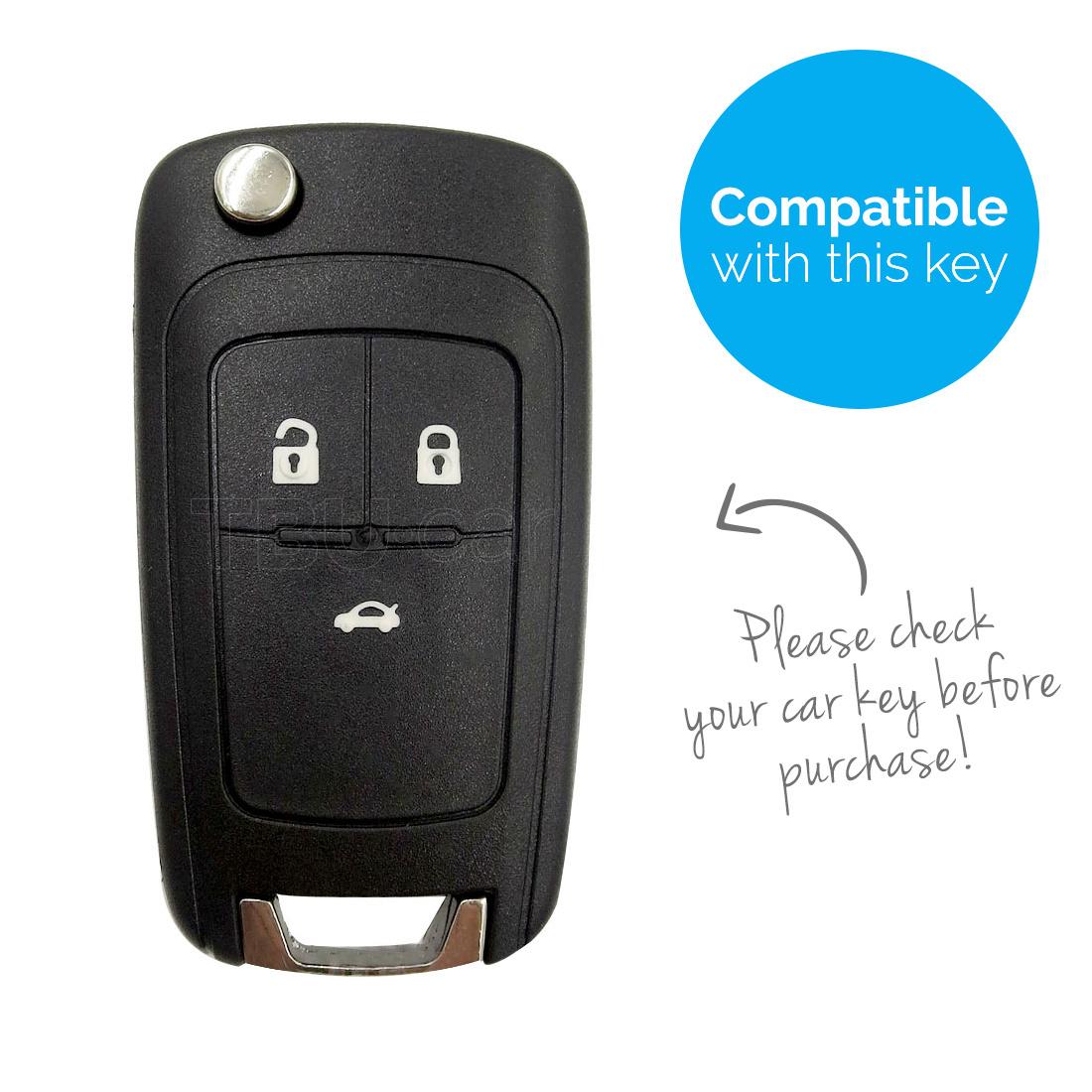 TBU car TBU car Autoschlüssel Hülle kompatibel mit Chevrolet 3 Tasten - Schutzhülle aus Silikon - Auto Schlüsselhülle Cover in Weiß