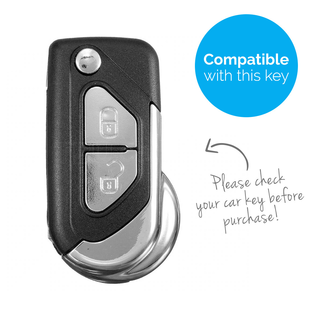 TBU car Autoschlüssel Hülle für Citroën 2 Tasten - Schutzhülle aus Silikon - Auto Schlüsselhülle Cover in Blau