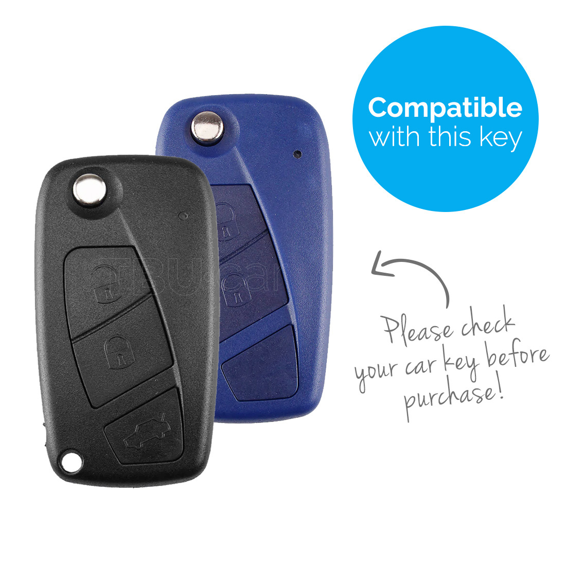 TBU car TBU car Autoschlüssel Hülle kompatibel mit Fiat 3 Tasten - Schutzhülle aus Silikon - Auto Schlüsselhülle Cover in Schwarz