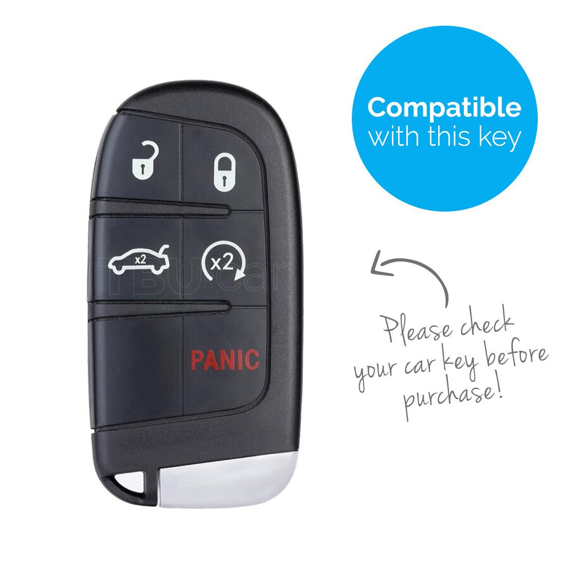 TBU car TBU car Autoschlüssel Hülle kompatibel mit Fiat 5 Tasten (Keyless Entry) - Schutzhülle aus TPU - Auto Schlüsselhülle Cover in Silber Chrom