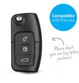 TBU car Autoschlüssel Hülle für Ford 3 Tasten - Schutzhülle aus Silikon - Auto Schlüsselhülle Cover in Rosa