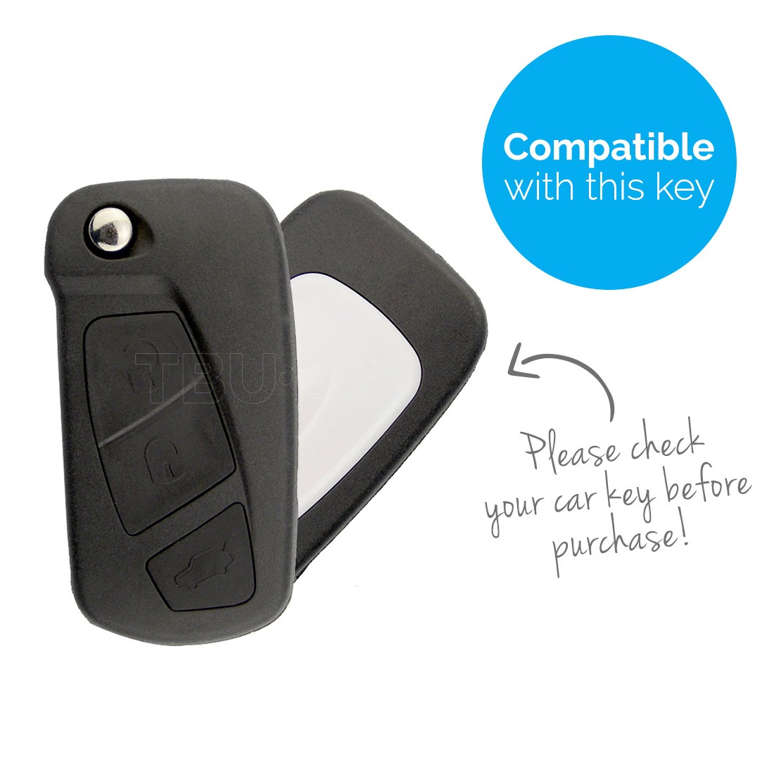 TBU car Autoschlüssel Hülle für Ford 3 Tasten (KA) - Schutzhülle aus Silikon - Auto Schlüsselhülle Cover in Violett