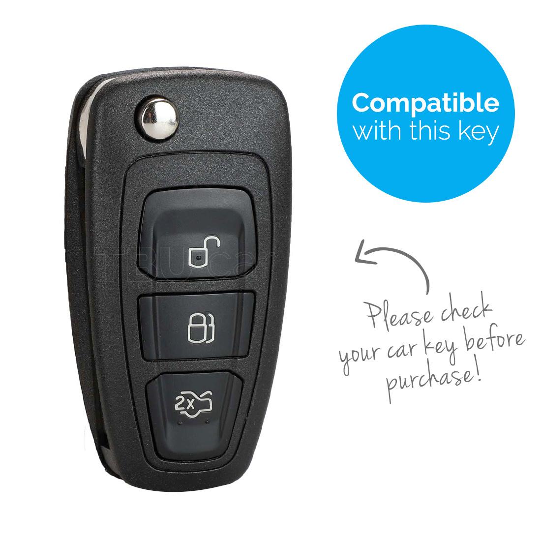 TBU car TBU car Autoschlüssel Hülle kompatibel mit Ford 3 Tasten - Schutzhülle aus Silikon - Auto Schlüsselhülle Cover in Rosa