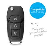 TBU car TBU car Autoschlüssel Hülle kompatibel mit Ford 3 Tasten - Schutzhülle aus Silikon - Auto Schlüsselhülle Cover in Weiß
