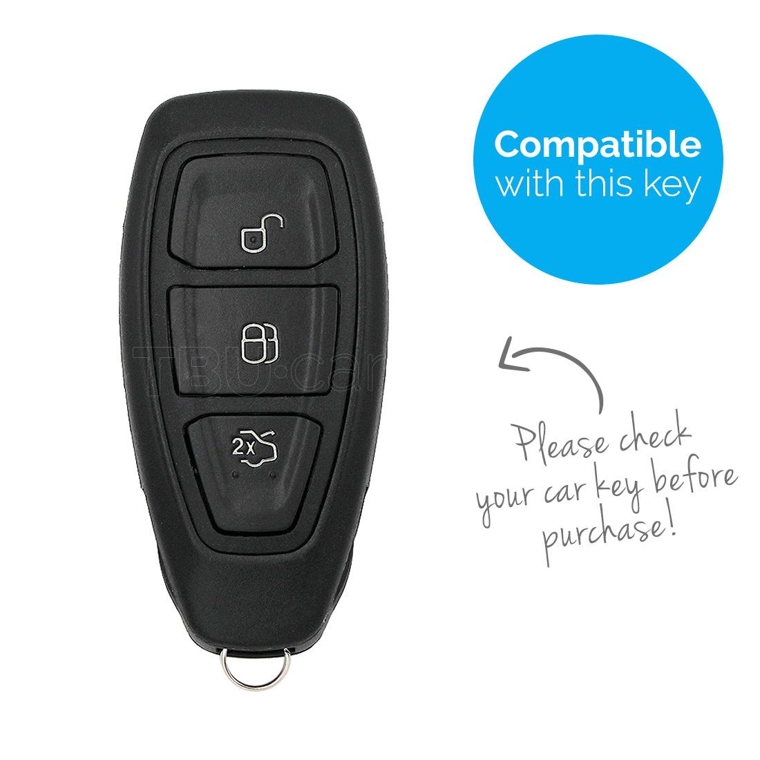 TBU car TBU car Autoschlüssel Hülle kompatibel mit Ford 3 Tasten (Keyless Entry) - Schutzhülle aus Silikon - Auto Schlüsselhülle Cover in Hellblau