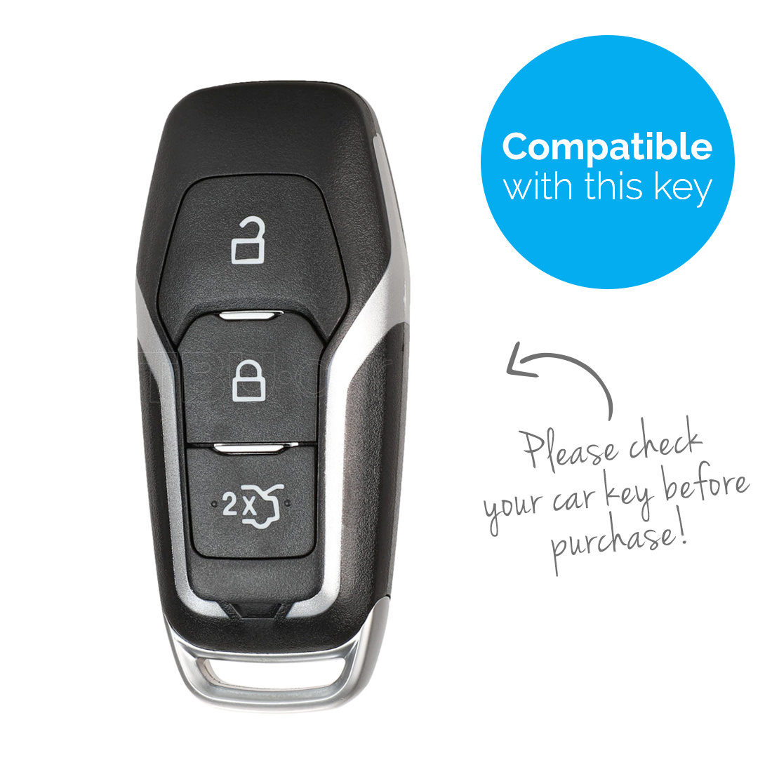 TBU car TBU car Autoschlüssel Hülle kompatibel mit Ford 3 Tasten (Keyless Entry) - Schutzhülle aus TPU - Auto Schlüsselhülle Cover in Silber Chrom