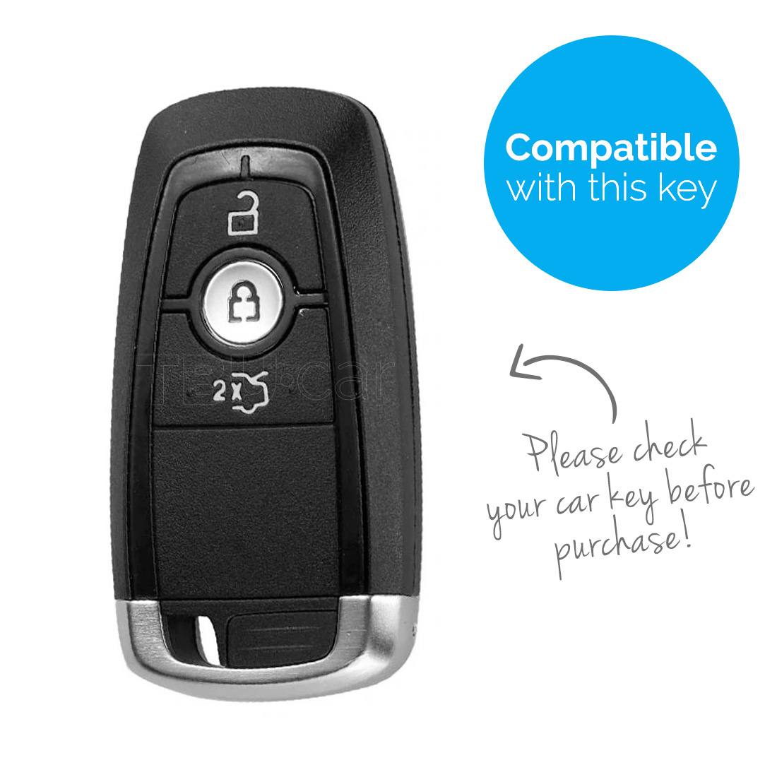 TBU car Autoschlüssel Hülle für Ford 3 Tasten (Keyless Entry) - Schutzhülle aus Silikon - Auto Schlüsselhülle Cover in Rosa