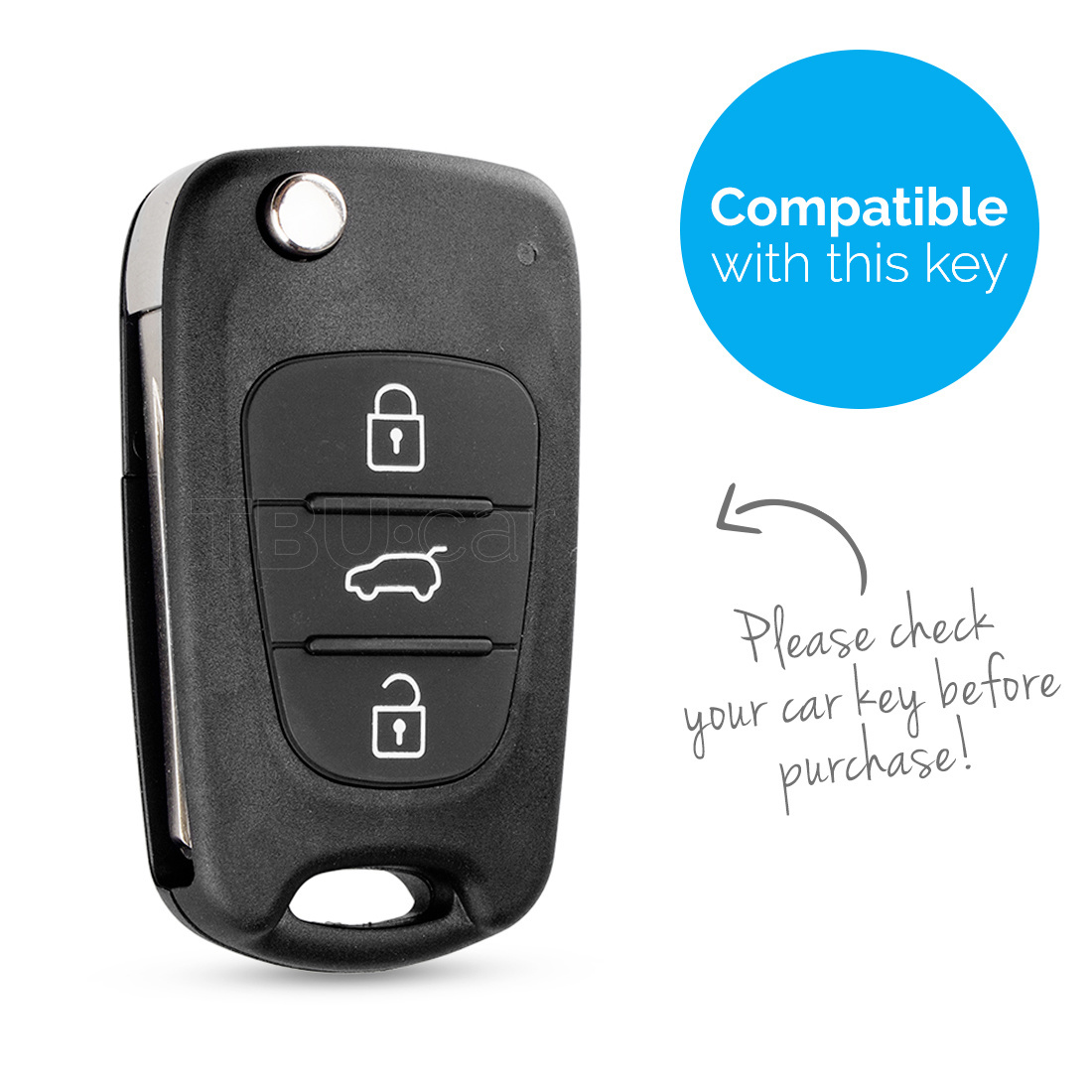 TBU car TBU car Autoschlüssel Hülle kompatibel mit Hyundai 3 Tasten - Schutzhülle aus TPU - Auto Schlüsselhülle Cover in Silber Chrom