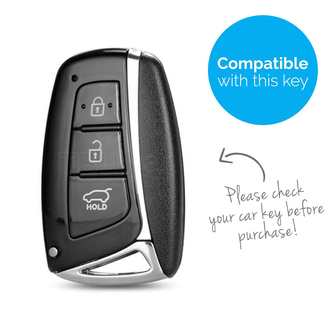 TBU car TBU car Autoschlüssel Hülle kompatibel mit Hyundai 3 Tasten (Keyless Entry) - Schutzhülle aus Silikon - Auto Schlüsselhülle Cover in Fluor Rosa
