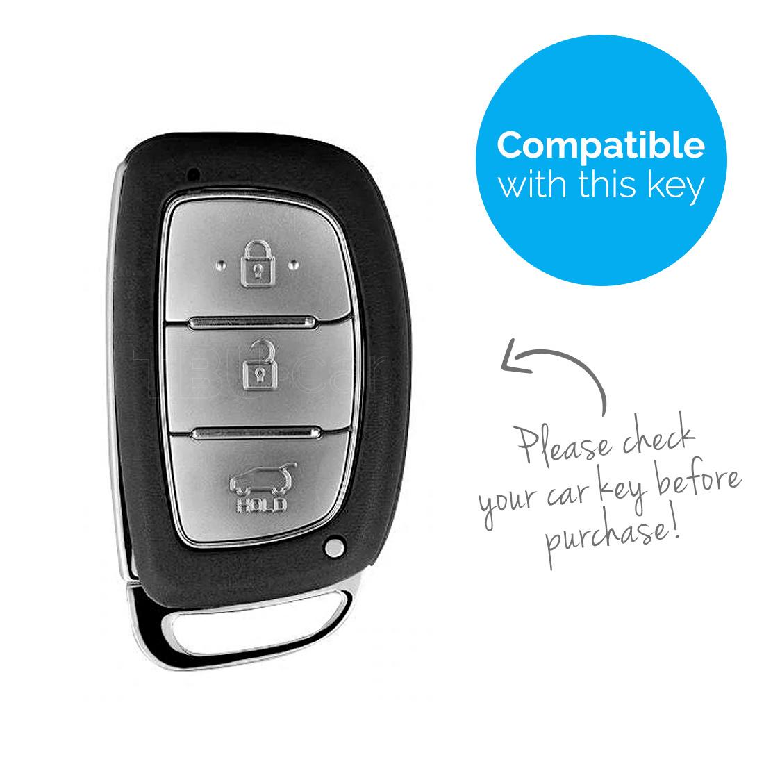 TBU car TBU car Autoschlüssel Hülle kompatibel mit Hyundai 3 Tasten (Keyless Entry) - Schutzhülle aus Silikon - Auto Schlüsselhülle Cover in Rot