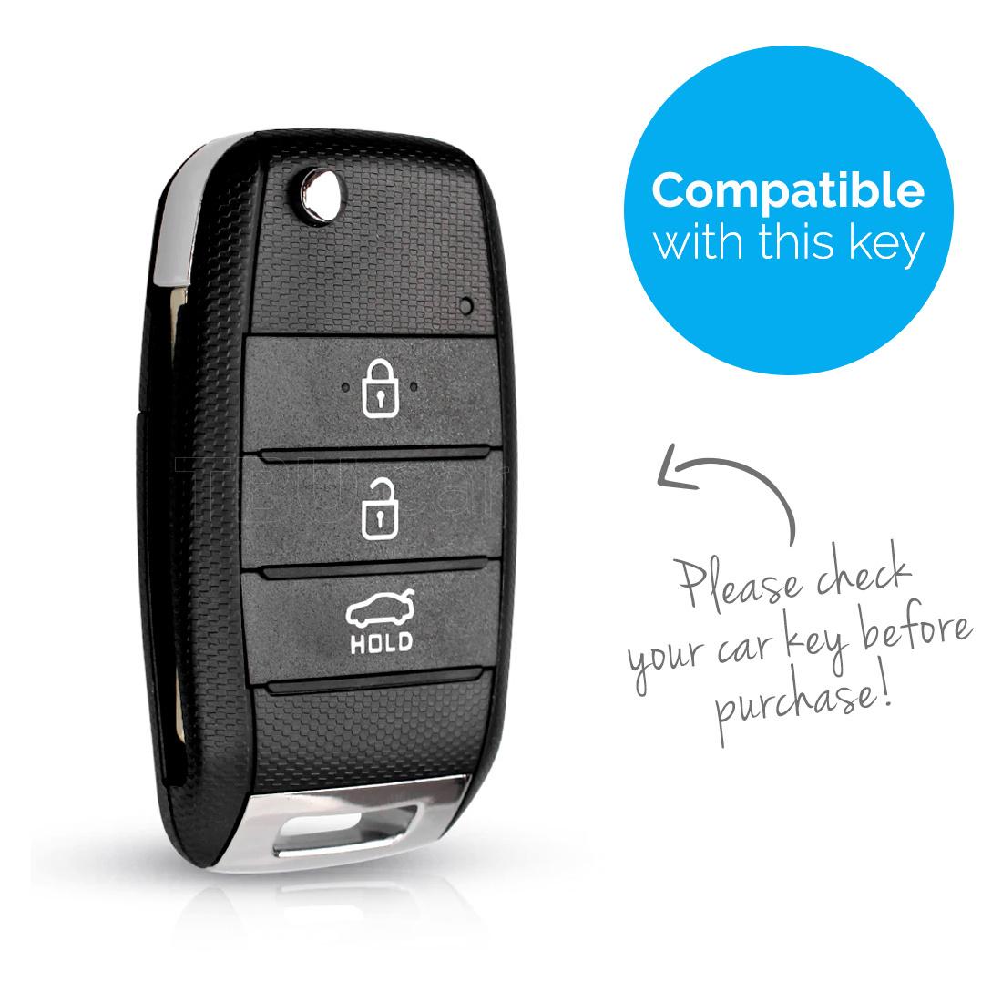 TBU car TBU car Autoschlüssel Hülle kompatibel mit Kia 3 Tasten - Schutzhülle aus Silikon - Auto Schlüsselhülle Cover in Hellblau