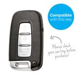 TBU car TBU car Autoschlüssel Hülle kompatibel mit Kia 3 Tasten (Keyless Entry) - Schutzhülle aus Silikon - Auto Schlüsselhülle Cover in Weiß