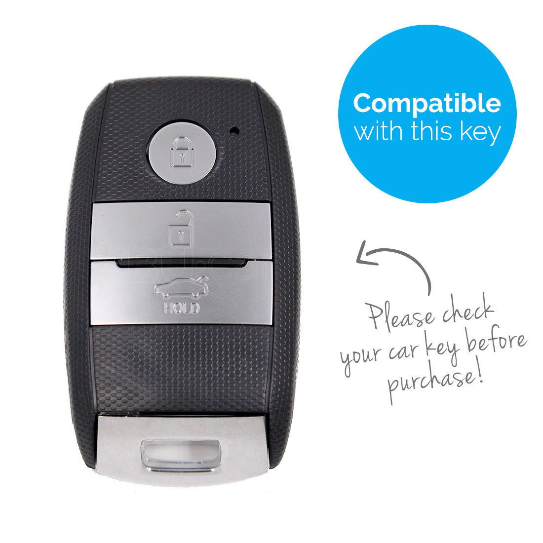 TBU car TBU car Sleutel cover compatibel met Kia - TPU sleutel hoesje / beschermhoesje autosleutel - Chrome
