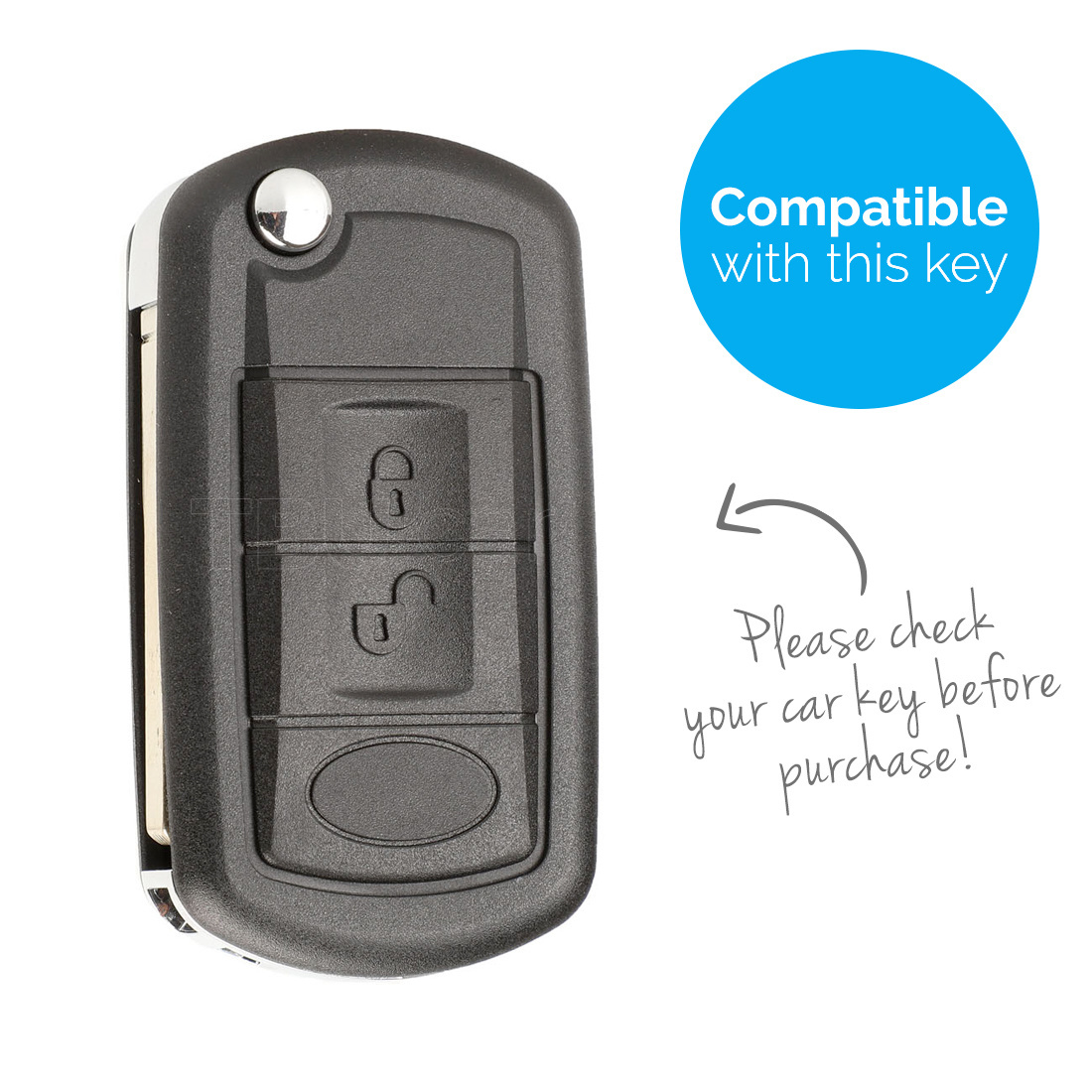 TBU car Autoschlüssel Hülle für Land Rover 2 Tasten - Schutzhülle aus Silikon - Auto Schlüsselhülle Cover in Weiß