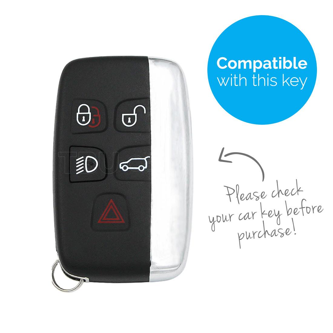 TBU car Autoschlüssel Hülle für Land Rover 5 Tasten (Keyless Entry) - Schutzhülle aus Silikon - Auto Schlüsselhülle Cover in Weiß