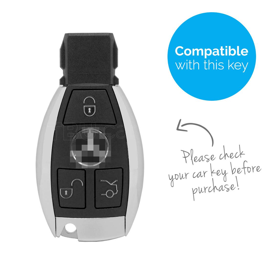 TBU car Autoschlüssel Hülle für Mercedes 3 Tasten - Schutzhülle aus Silikon - Auto Schlüsselhülle Cover in Zebra