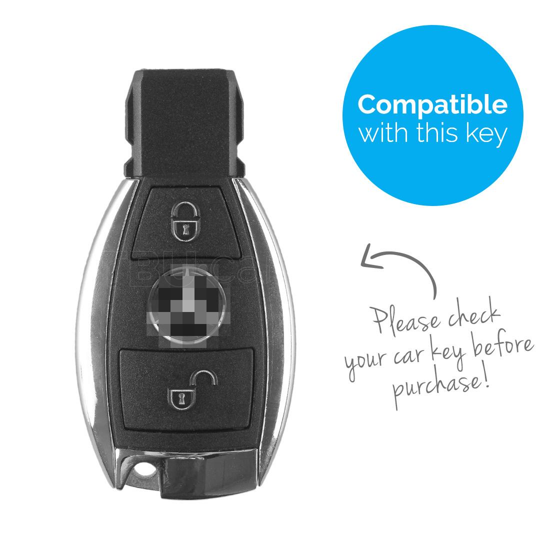 TBU car TBU car Autoschlüssel Hülle kompatibel mit Mercedes 2 Tasten - Schutzhülle aus Silikon - Auto Schlüsselhülle Cover in Blau