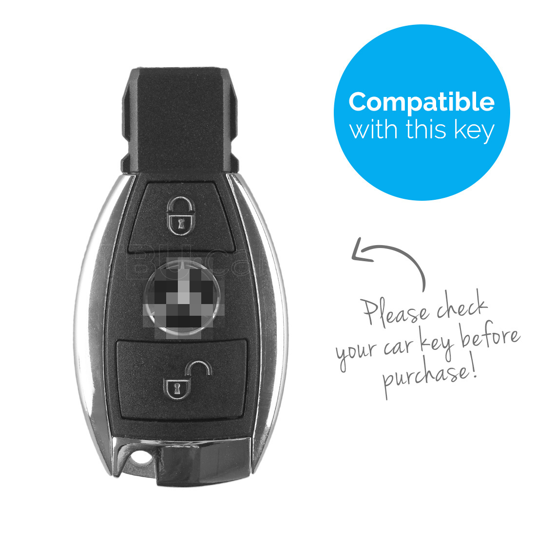 TBU car TBU car Autoschlüssel Hülle kompatibel mit Mercedes 2 Tasten - Schutzhülle aus Silikon - Auto Schlüsselhülle Cover in Hellblau