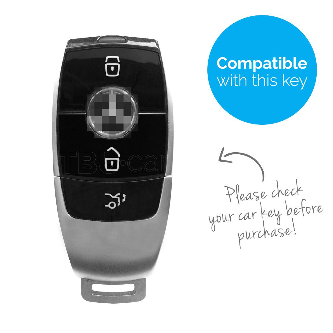 TBU car TBU car Autoschlüssel Hülle kompatibel mit Mercedes 3 Tasten (Keyless Entry) - Schutzhülle aus TPU - Auto Schlüsselhülle Cover in Roségold