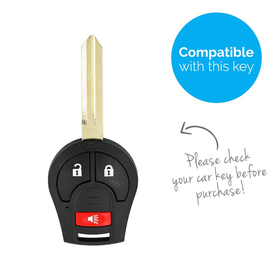TBU car TBU car Autoschlüssel Hülle kompatibel mit Nissan 3 Tasten - Schutzhülle aus Silikon - Auto Schlüsselhülle Cover in Fluor Rosa