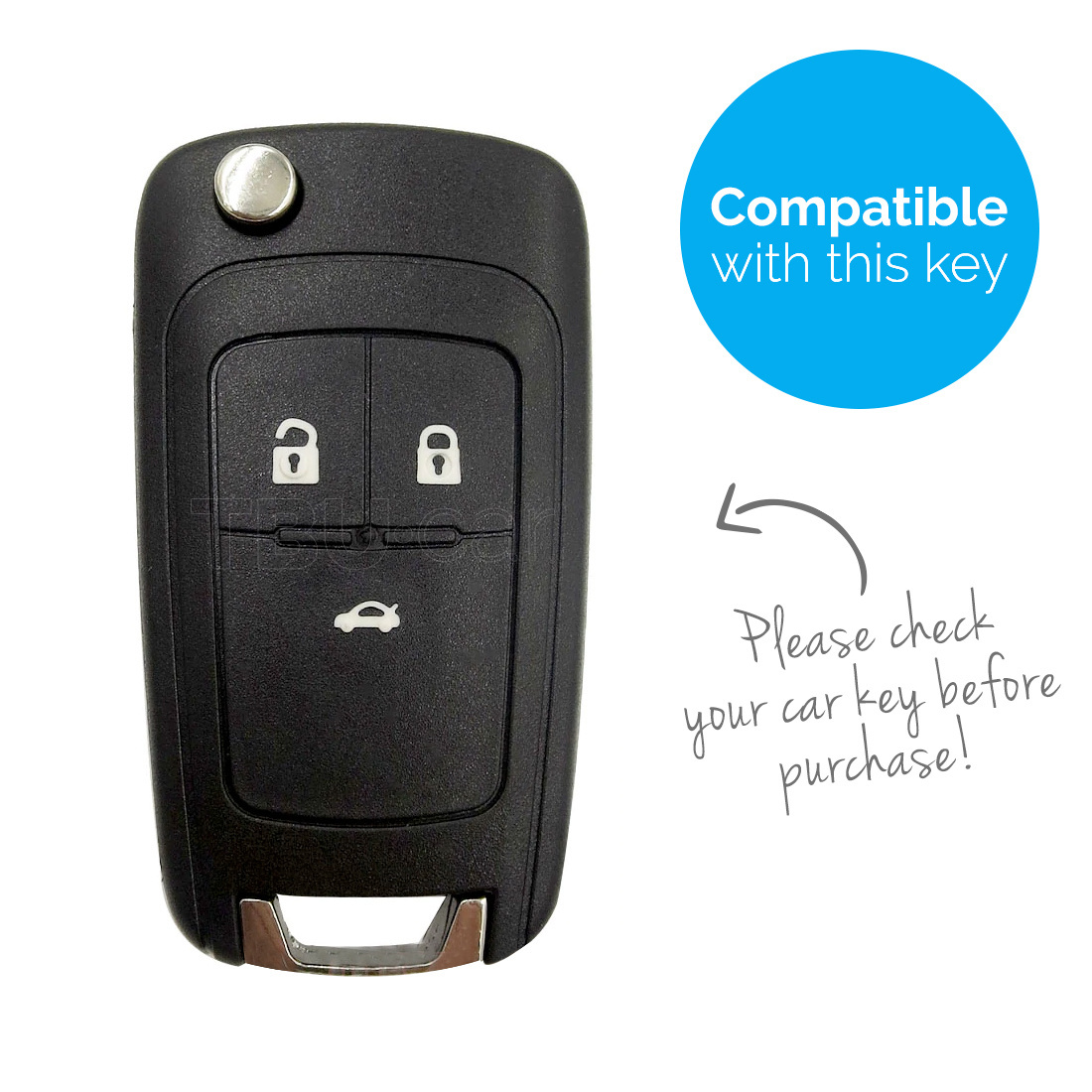 TBU car TBU car Autoschlüssel Hülle kompatibel mit Opel 3 Tasten - Schutzhülle aus Silikon - Auto Schlüsselhülle Cover in Weiß